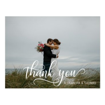 Beach Themed Elegant Calligraphy Script THANK YOU with PHOTO Postcard