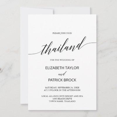 Elegant Calligraphy Thailand Destination Wedding Invitation