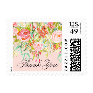 ELEGANT CALLIGRAPHY THANK YOU floral postage