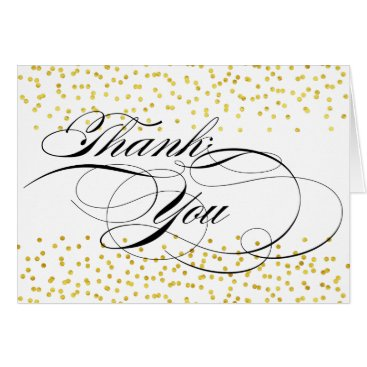 Professional Business Elegant Calligraphy Thank You with Gold Confetti Card