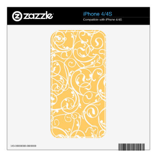 Elegant Calligraphy Vintage Scroll in Marigold iPhone 4S Decal