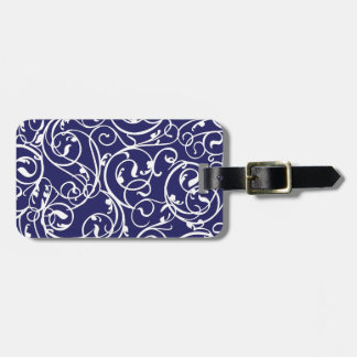 Elegant Calligraphy Vintage Scroll in Navy Tag For Bags