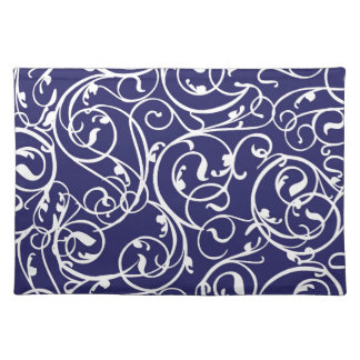 Elegant Calligraphy Vintage Scroll in Navy Place Mat