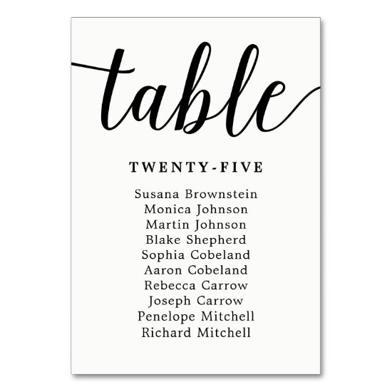 Elegant Calligraphy Wedding Guest Seating Chart Table Number