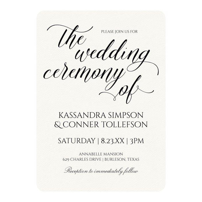 Elegant Calligraphy Wedding Invitations Black Zazzle Com