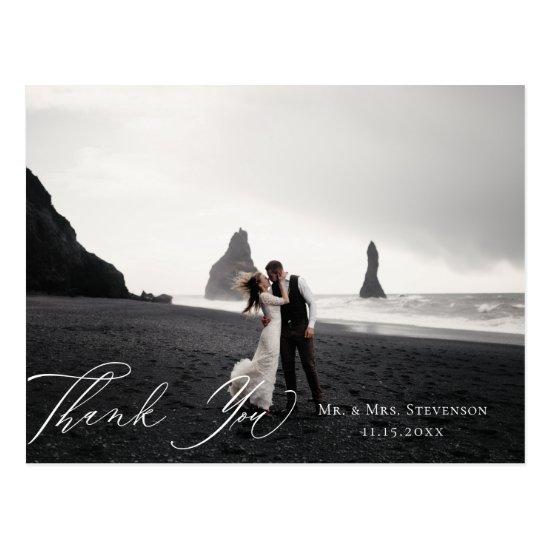 Elegant Calligraphy Wedding Photo Thank You Postcard
