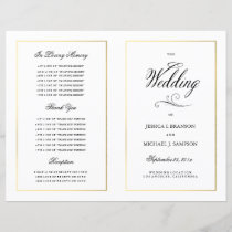 Elegant Calligraphy Wedding Program Gold Border