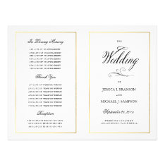 Elegant Calligraphy Wedding Program Gold Border at Zazzle