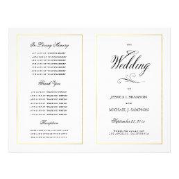 Elegant Calligraphy Wedding Program Gold Border