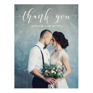 Elegant Calligraphy | Wedding Thank You Photo Postcard