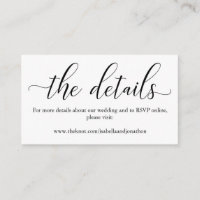 Elegant Calligraphy Wedding Website Enclosure Card