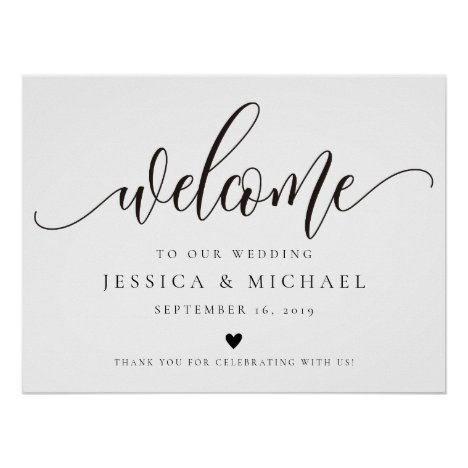Elegant calligraphy Welcome Wedding Sign