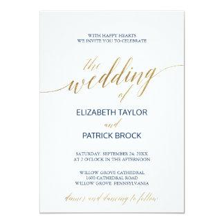 Elegant Calligraphy with Details on Back Wedding Card