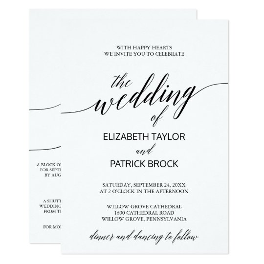 Elegant Calligraphy With Details On Back Wedding Invitation