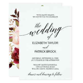 Elegant Calligraphy with Floral Backing Wedding Card