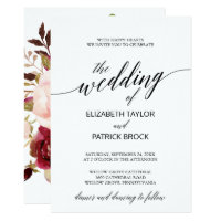 Elegant Calligraphy with Floral Backing Wedding Invitation
