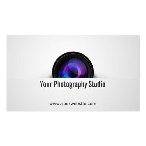 Elegant Camera Lens Photographer Business Card