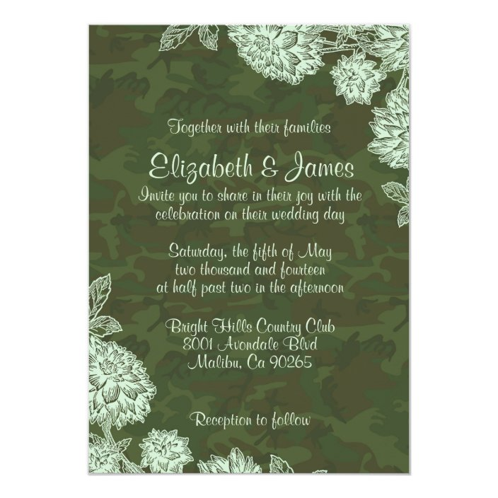 Elegant Camo Wedding Invitations