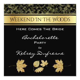 Elegant Camouflage Bachelorette Weekend Invitation