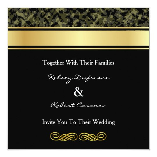 Classy Camo Wedding Ideas: Elegant Camouflage Wedding Invitation