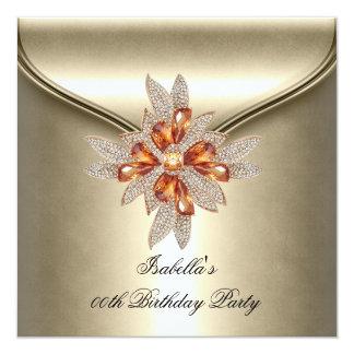 "Elegant Caramel Beige Amber Birthday Party 5.25"" Square Invitation Card"