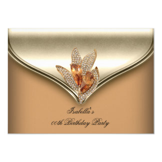 Elegant Caramel Beige Gold Birthday Party 4.5x6.25 Paper Invitation Card