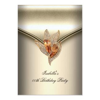 "Elegant Caramel Beige Gold Birthday Party 5"" X 7"" Invitation Card"
