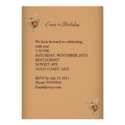 Elegant Caramel Beige Gold Birthday Party Personalized Invites (back side)
