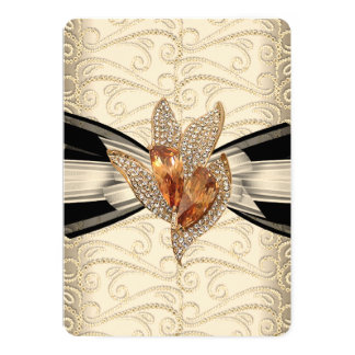 Elegant Caramel Cream Black Gold Amber 2 5x7 Paper Invitation Card