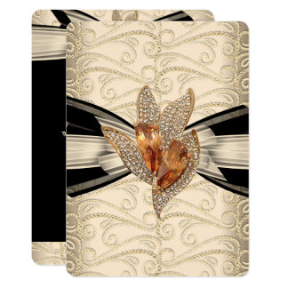 Elegant Caramel Cream Black Gold Amber 2 Card