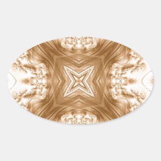 Elegant Caramel Fractal Oval Sticker