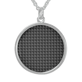 Elegant Carbon Fiber Style Print Decor Sterling Silver Necklace