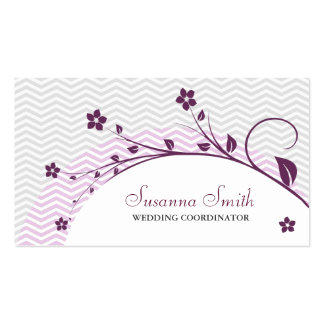 Elegant card group of flowers and chevrón business card template