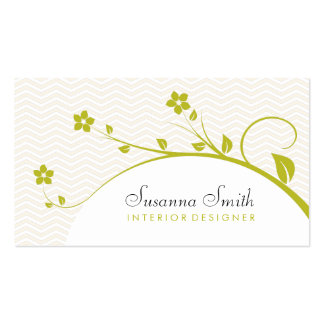 Elegant card in target with flowers and chevrón business card template