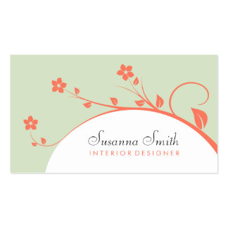 Elegant card in target with flowers orange business card template