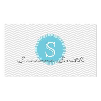 Elegant card of chevrón and monograma blue sky business card template