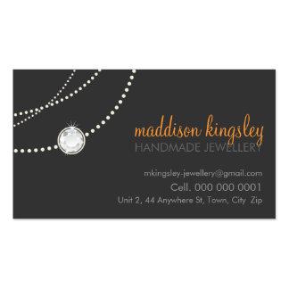 elegant card stylish necklace grey orange Double-Sided standard business cards (Pack of 100)