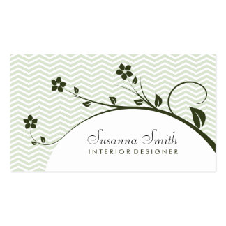 Elegant card with flowers green dark and chevrón business cards