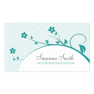 Elegant card with green flowers and chevrón business card template