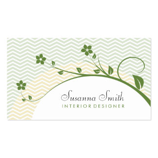 Elegant card with green flowers and chevrón business cards