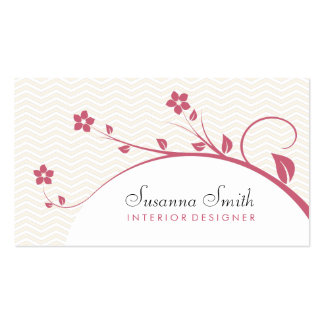 Elegant card with red flowers and chevrón business card templates