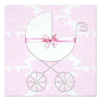 Elegant Carriage Pink Damask Baby Shower Invitatio Card