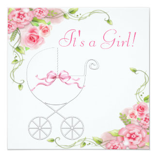 Elegant Carriage Pink Rose Baby Shower Invitations