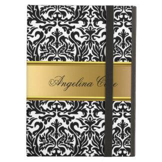 Elegant Case black white Damask Gold add Name iPad Air Cases