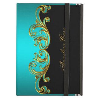 Elegant Case Teal Blue gold Black Cover For iPad Air