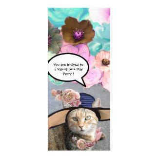 ELEGANT CAT BIG DIVA HAT AND ROSES VALENTINE PARTY PERSONALIZED INVITE