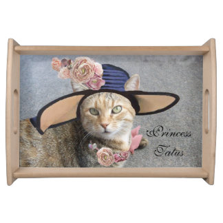 ELEGANT CAT WITH BIG DIVA HAT AND PINK ROSES SERVING TRAY
