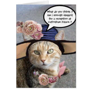 ELEGANT CAT WITH BIG DIVA HAT,PINK ROSES Birthday Card
