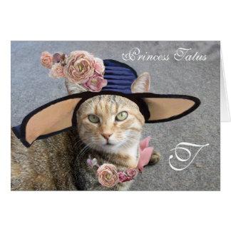 ELEGANT CAT WITH BIG DIVA HAT,PINK ROSES Valentine Card