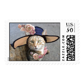 ELEGANT CAT WITH BIG DIVA HAT,PINK ROSES Valentine Postage